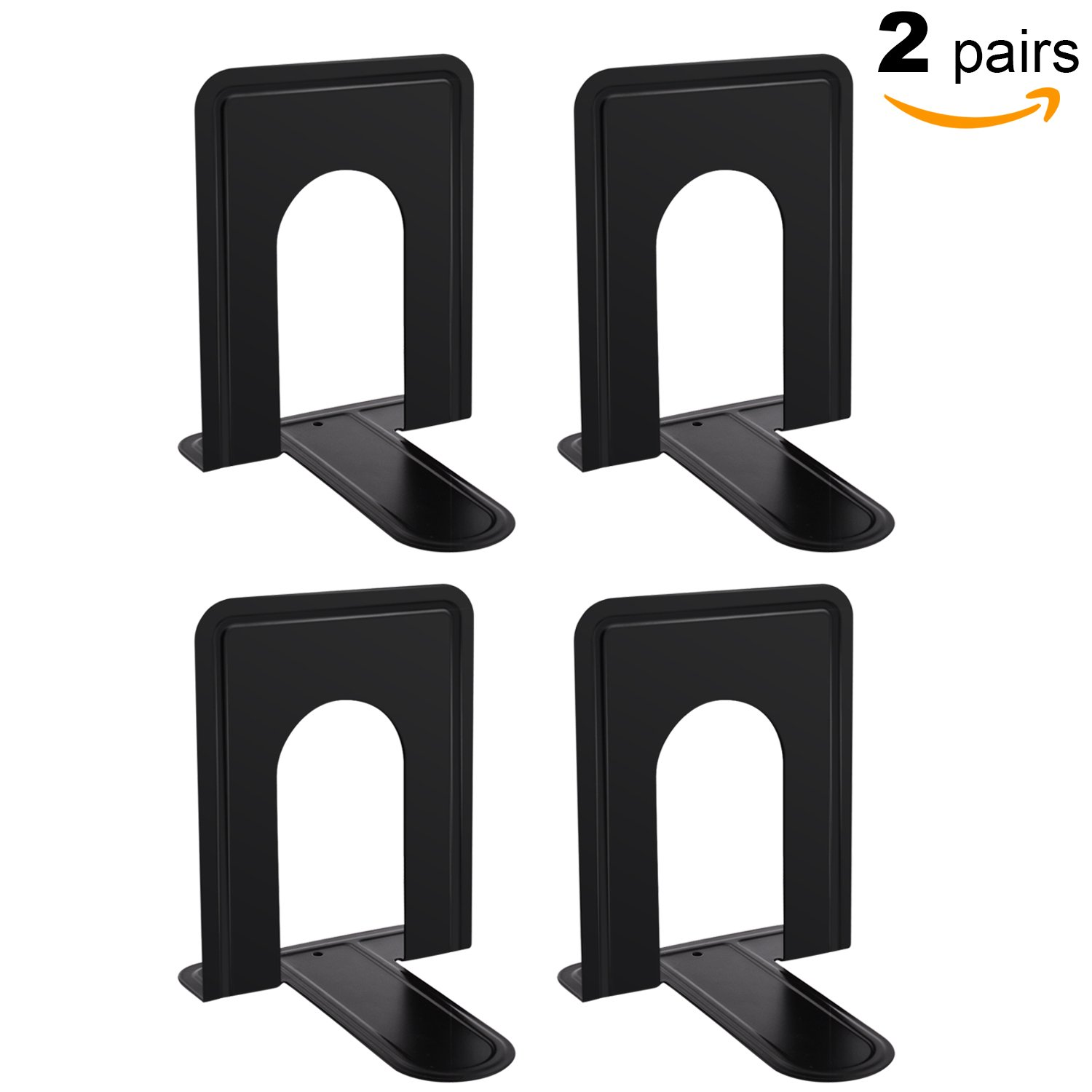 MaxGear Universal Bookends Heavy Duty Metal Bookend Supports for Books, Standard, 6'' x 4 3/5'' x 6'', Nonskid, 2 Pair/4 Piece