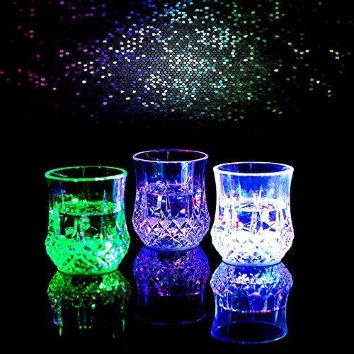 Bar Glasses Funny,DiDaDi [3 PCS] Water Activated Colorful Flashing LED Light Up Shot Glasses Blinking Beer Wine Whisky Vodka Martini Drinkware Glow Glasses Mugs for Bar Club Christmas Party -