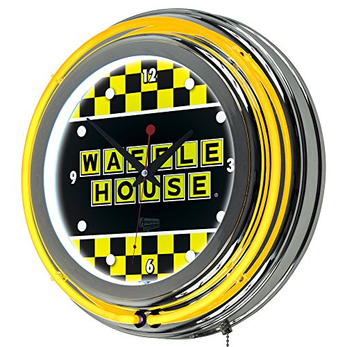 Waffle House Checkered Chrome Double Ring Neon Clock