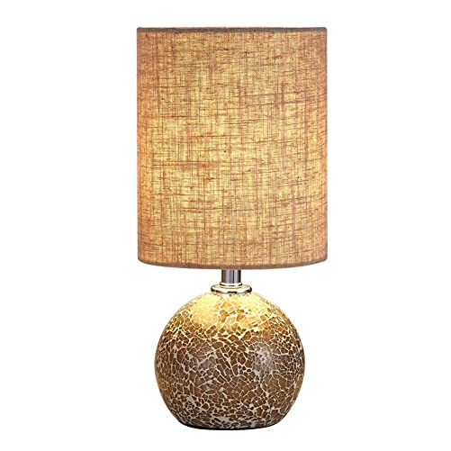 Bedside Table Lamp Desk Lamp – 12.5 H Mini Nightstand Lamp Mosaic Bedroom Night Lamp Small End Side Table Lamp Bed Lighting with Drum Shade for Living Room Reading Kids Nursery, Best Gifts
