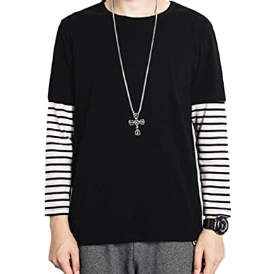Tootless Men Splicing Collision Color Korean Style Striped Tops T