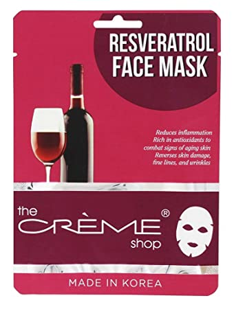 Resveratrol Face Sheet Mask - 1 Count by The Creme Shop (pack of 2) DML Forte Cream 4 oz (Pack of 2)