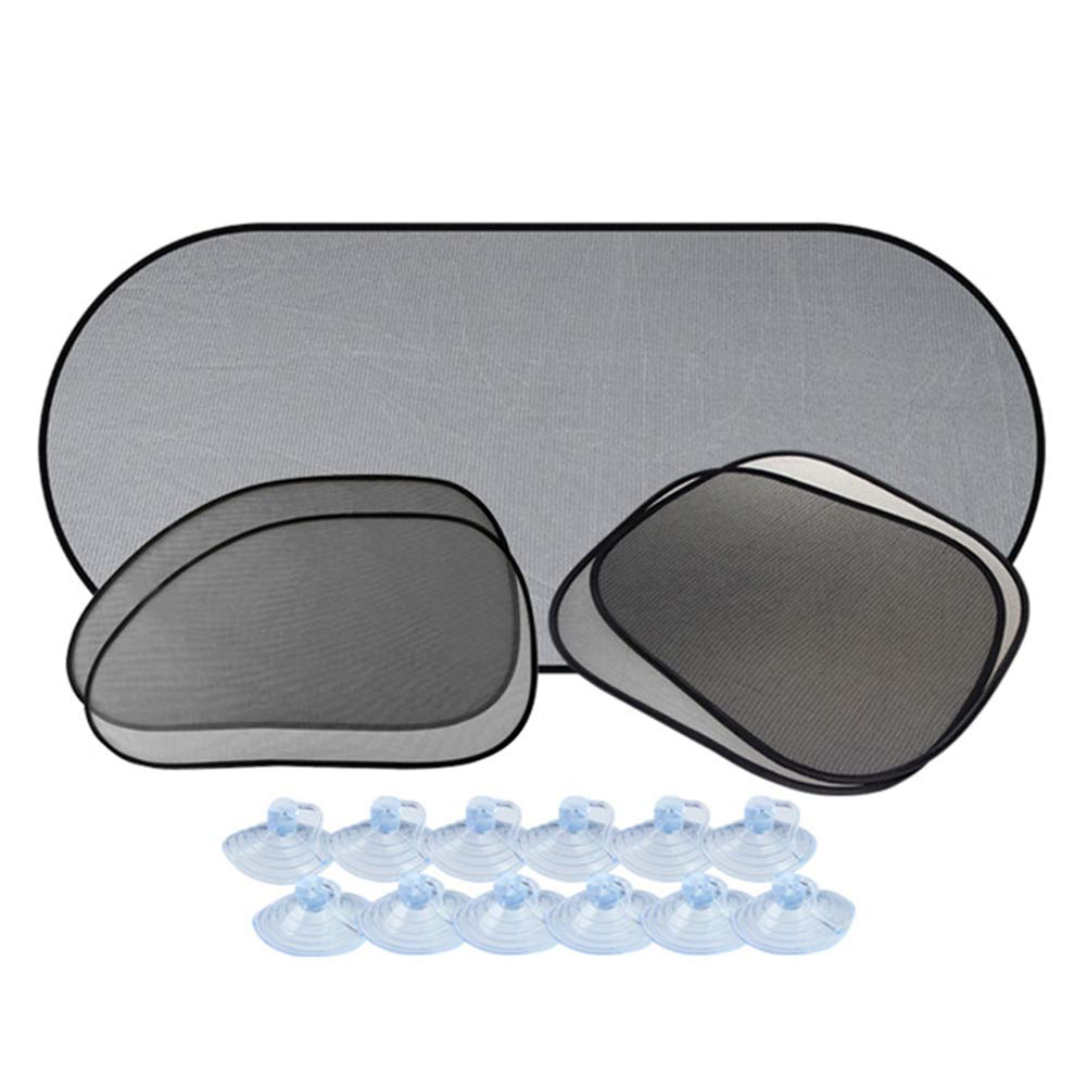 Amorar 5 Stück Auto Sonnenschutz Baby Sonnenblende Kinder mit UV-Schutz für Heckscheiben und Seitenscheiben Saugnapf Universell Geeignet für Seitenfenster Meisten Autos und SUVs, EINWEG Verpackung