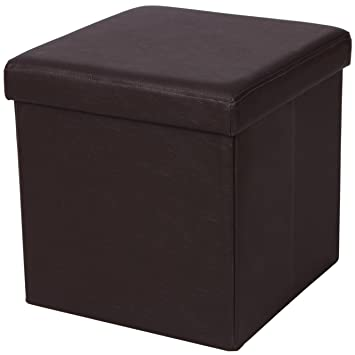 SONGMICS Faux Leather Folding Storage Ottoman Cube Foot Rest Stool Seat  15u0026quot; X 15u0026quot;