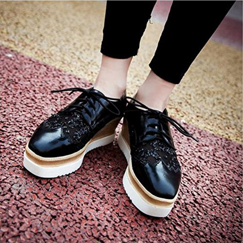 Summerwhisper Womens Sweet Square Toe Low Top Gauze Splicing Wedge Heel OXfords Platform Lace up Sneakers Black 4GV9fH