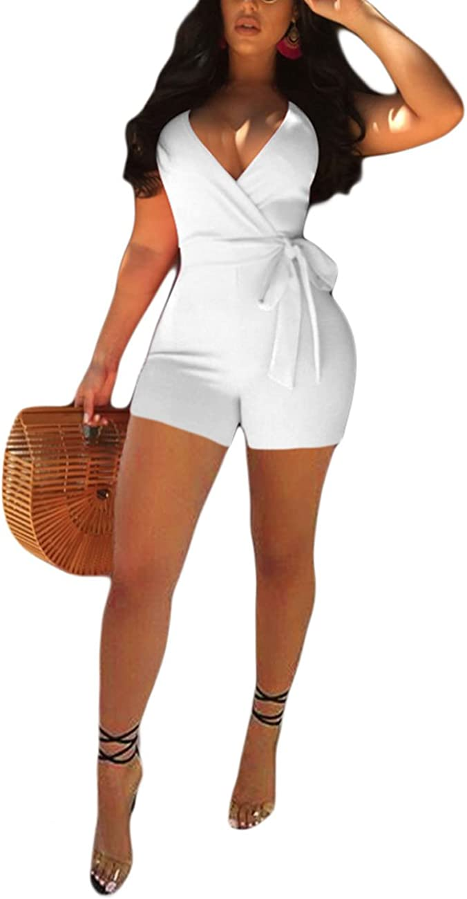 Comfy Women Solid V Neck with Belt Long Sleeve High Waist Slim Rompers