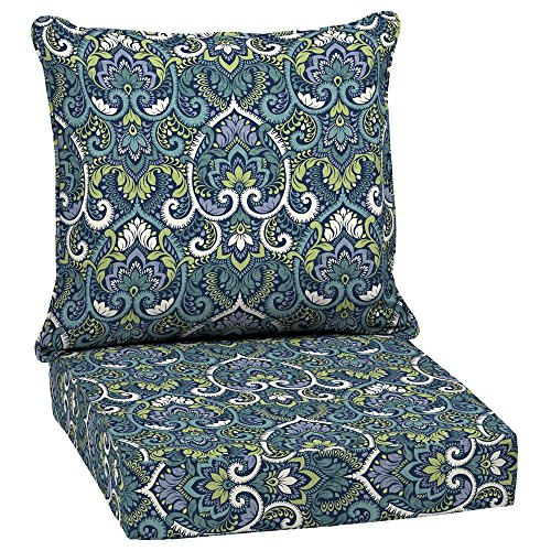Arden Selections Sapphire Aurora Damask 2-Piece Deep Seating Outdoor Lounge Chair Cushion (Arden Outdoor Cushions)