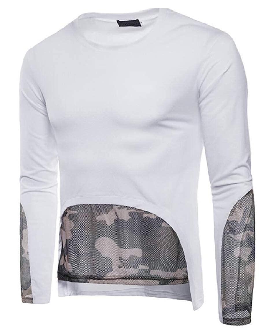 omniscient Mens Muscle Casual Fit Long Sleeve Camouflage Patchwork Blouse Tops
