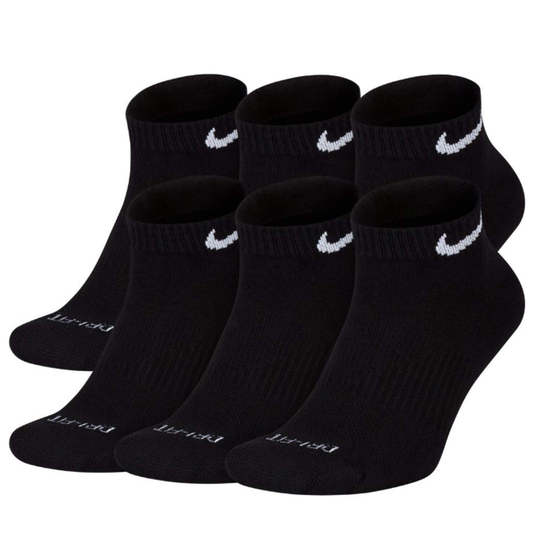 NIKE Plus Cushion Socks (6-Pair) (M (Men's 6-8 / Women's 6-10), Low (Sport Cut) Black)