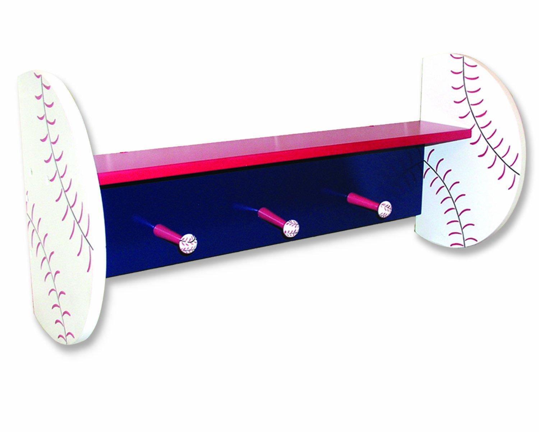 Trend Lab Baseball Shelf with Peg Hooks