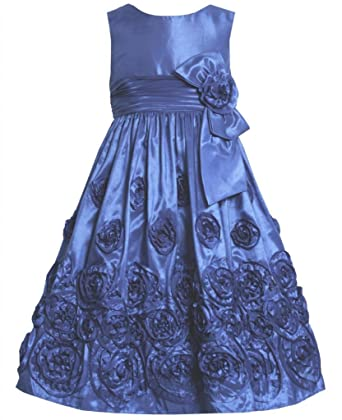 Amazon Royal Blue Bonaz Rosette Border Taffeta Dress
