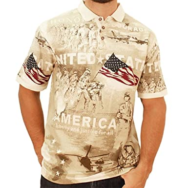 07eb651d5 Cotton Traders Allover Patriotic Men's Polo Shirt at Amazon Men's ...