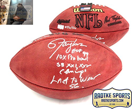Lawrence Taylor Autographed/Signed New York Giants Authentic Football with 4 Career Stats Inscription - LE #56/56 ()