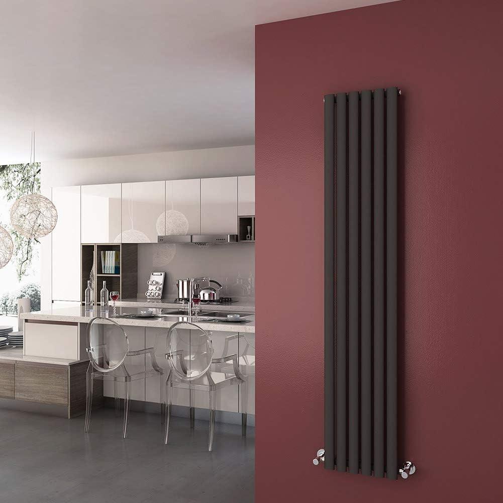 1800 x 360 mm Anthracite Vertical Oval Column Radiator Single Panel Designer Radiators