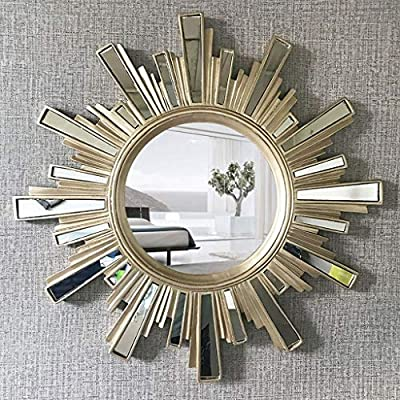 Hbzy Bathroom Mirror Collage Round Mirror Makeup Mirror Corridor Sun Shape Decorative Mirror Wall Hanging Mirror 57 57cm Bathroom Mirror Color Champagne Gold Buy Online At Best Price In Uae Amazon Ae