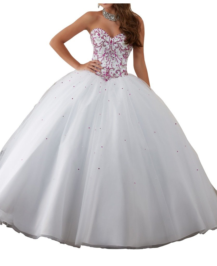 BoShi Women's Sweetheart Dimonds Custom Made Crystal Wedding Sweet 15 Quinceanera Dresses 10 US Fuchsia+ White