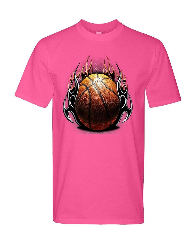 TeeWorlds Dark Flames Basketball Ball - American Basketball Unisex T-Shirt