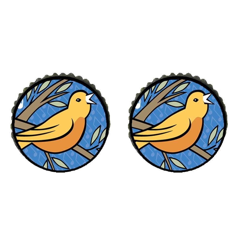 GiftJewelryShop Bronze Retro Style Four Calling Birds Photo Storybook Photo Stud Earrings 10mm Diameter