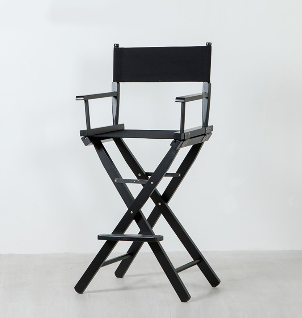 TYz Wooden Director Chair Canvas Folding Chair Portable High Makeup Chair Front Desk Chair Simple Bar Stool (Color : A)