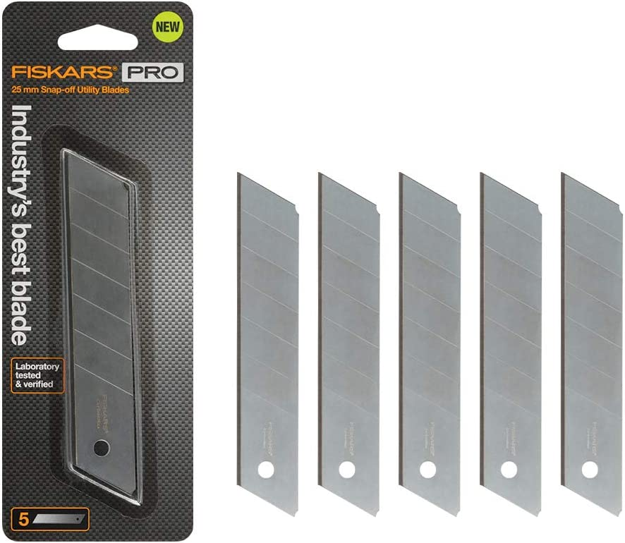Fiskars 771050-1001 Pro Utility Knife Replacement Blades, 25 mm 5 Pack, Sliver