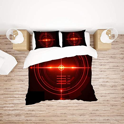 Amazon.com: Bedding Sets Full Size Red Target Duvet Cover Set with