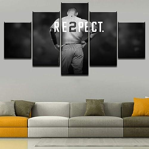 HSART 5 Pieces Modular HD Printing Canvas Derek Jeter Baseball Sports Painting Wall Art