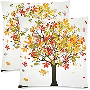 InterestPrint Autumn Harvest Tree Of Life Pillowcase Cushion Case Cover 18x18 Twin Sides, Fall Tree Leaves Zippered Throw Pillow Case Shams Decorative, Set of 2
