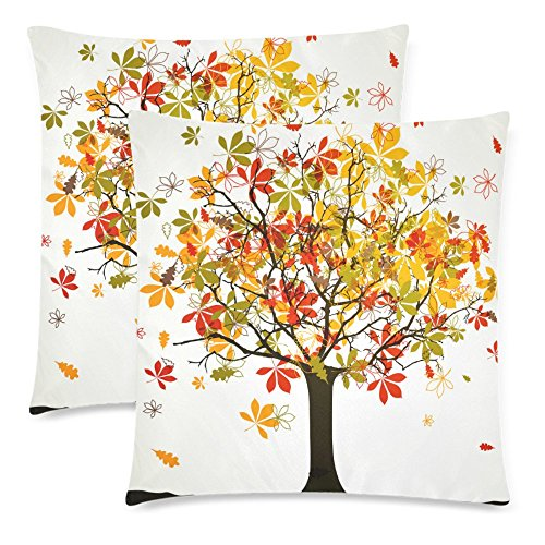 InterestPrint Autumn Harvest Tree Of Life Pillowcase Pillow Cushion Case Cover 18x18 Twin Sides, Fall Tree Leaves Love of Tree Valentine's Day Zippered Throw Pillow Case Shams Decorative, Set of 2 -