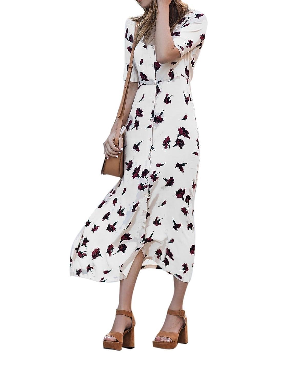 CRAVOG Sommer Damen Maxikleid Strandkleid Partykleid Abendkleid Blumen lange Hemdkleid
