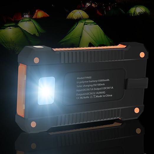 OKE Batería Externa Cargador Solar Power Bank 15000mAh Impermeable Portátil 2 Puertos USB con Luces de Emergencia para iPhone, iPad, Android Smartphone y Tablet etc.(Anaranjado): Amazon.es: Electrónica
