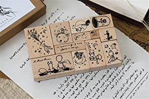 Mvchifay Vintage Wooden Stamps Set Rubber Seal for DIY Stationery Scrapbooking Handbook Diary Letter Decor (Prince Series) (Prince Series)