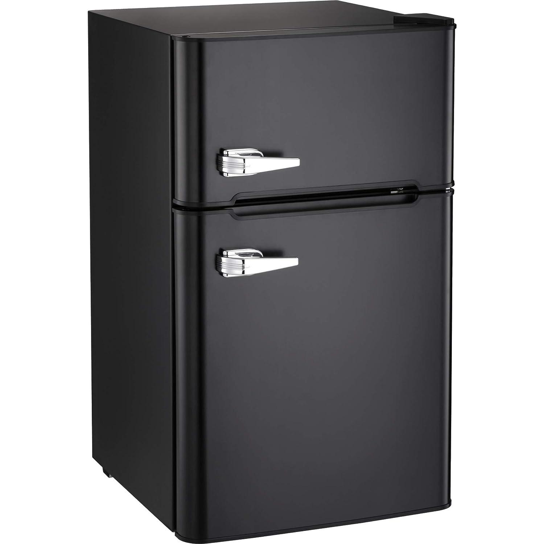Kismile Compact Refrigerator, 2 Door Refrigerator and Freezer, Dorm or Apartment, 3.3 cu ft, Black