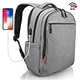 Grey Waterproof USB RFID Backpack – Anti Theft Laptop Travel Backpack – SWISS Design – Business College School Backpack – Backpack for Men Women 15.6 inch Review