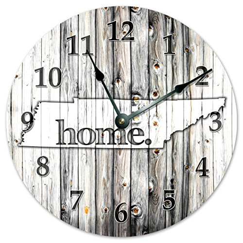 """TENNESSEE STATE HOME CLOCK Black and White Rustic Clock - Large 10.5"""" Wall Clock"""