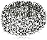1928-Jewelry-Silver-Tone-Crystal-Stretch-Bracelet