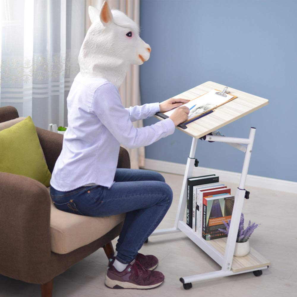 LIULIFE Mobile Computer Desk On Wheels, Writing Desk, PC Table for Small Spaces, Workstation for Home Office, Easy Assembly,Beige-6040cm by LIULIFE (Image #6)