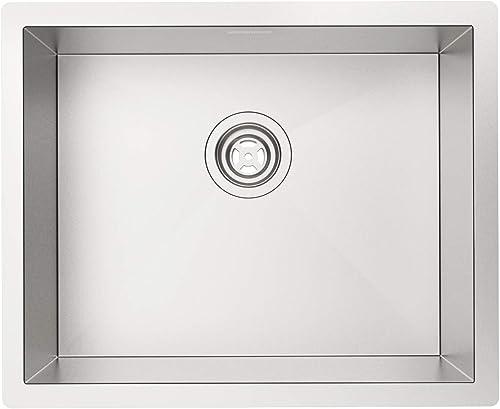 MENSARJOR 22 x18 Undermount Single bowl 18 Gauge Handmade Stainless Steel Kitchen sink