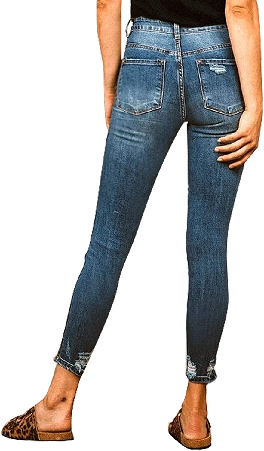 Roskiky Women's Button Fly Denim Skinny Jeans Ripped Stretchy Pants A-dark Blue
