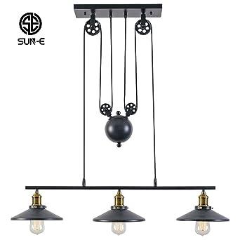 SUN E Rustic Home Decor Retro Pendant Retractable Chandelier Light  Adjustable Lamp 3 Head Hanging