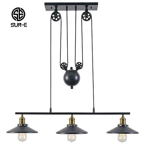 SUN-E Rustic Home Decor Retro Pendant Retractable Chandelier Light ...