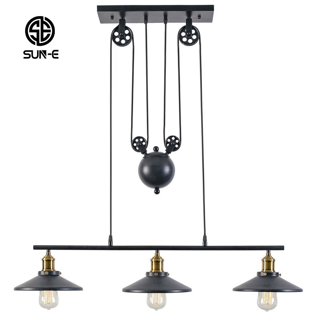 SUN-E Rustic Home Decor Retro Pendant Retractable Chandelier Light Adjustable Lamp 3 Head Hanging light Loft Style Vintage Ceiling Lamps Creative Pulley Design Fixtures Chandelier by SUN-E