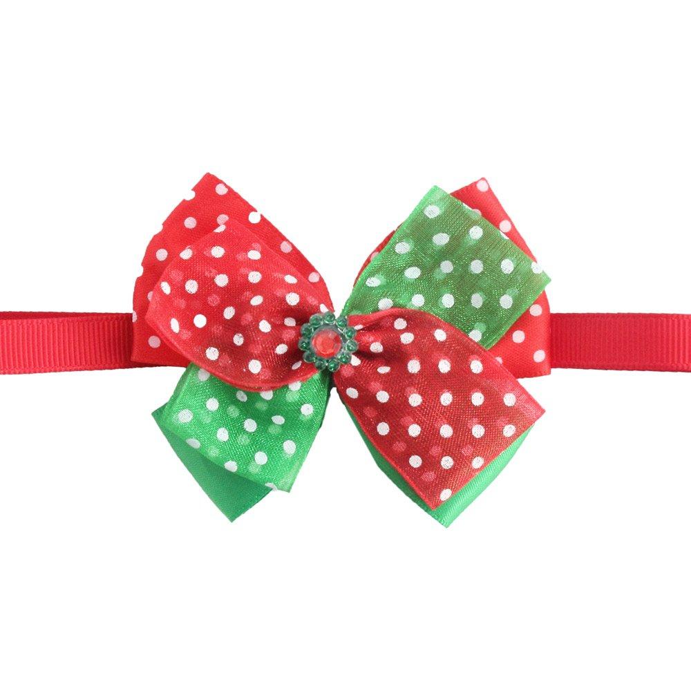 50PCs Dog Charm Collar Handmade Tull Bow Tie Merry Christmas Dress up Small Medium Dog