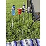 Sunnydaze Heavy Duty Outdoor Beverage/Drink Holder Stakes, Set of 4