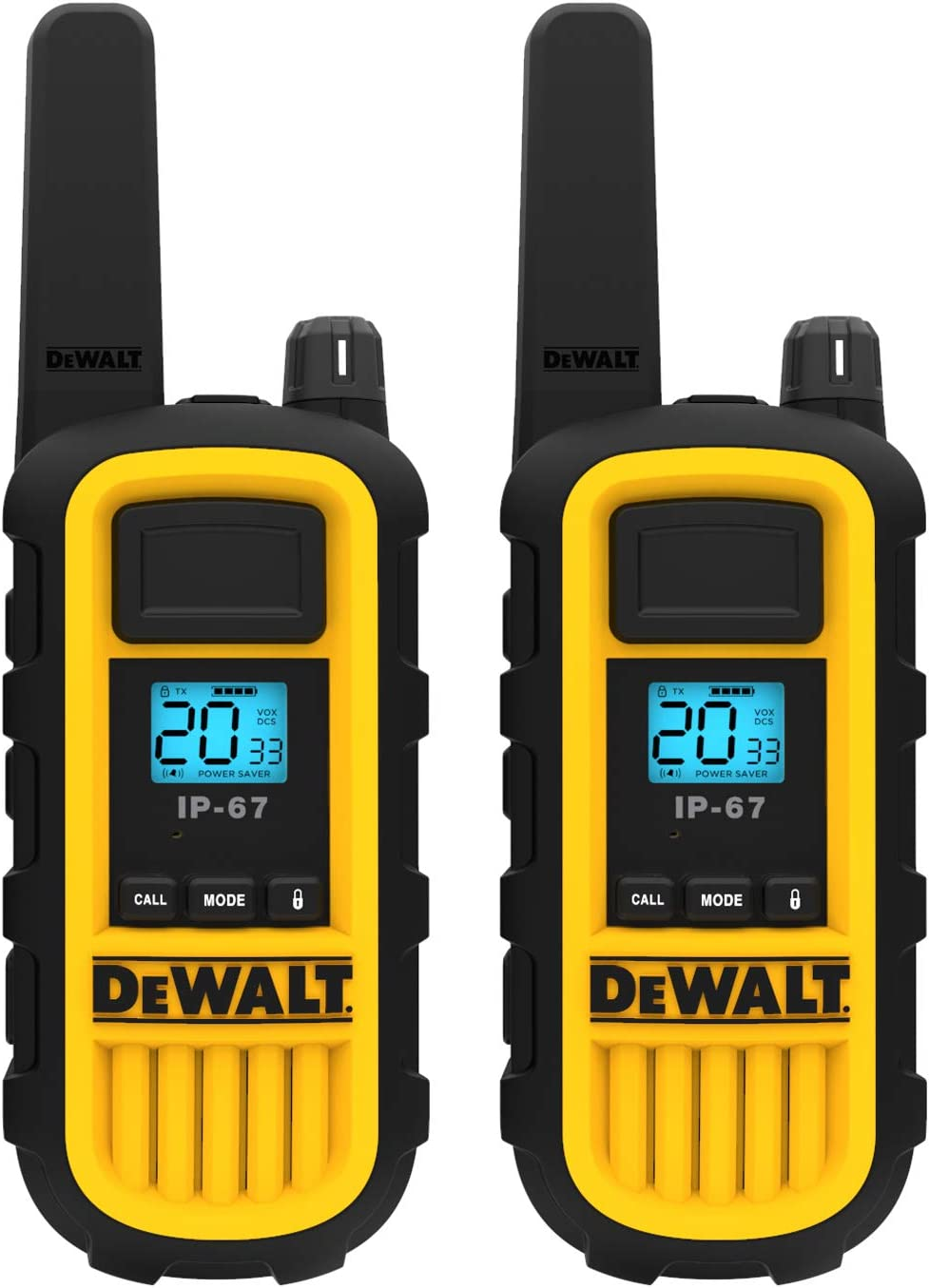 DEWALT DXFRS800 2 Watt Heavy Duty Walkie Talkies - Waterproof, Shock Resistant, Long Range & Rechargeable Two-Way Radio with VOX (2 Pack)