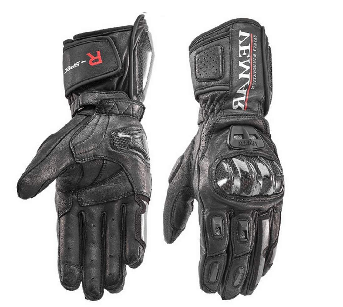 L, Verde Guanti Moto Professionali in Pelle Motocross Racing Pista protezione Carbonio