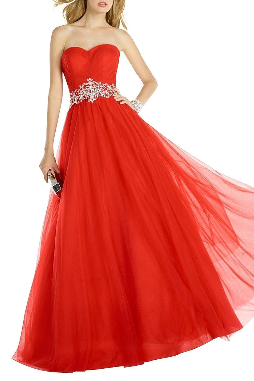 Charmant Damen Romantisch Rot Tuell Abendkleider Promkleider Abiballkleider mit Silber Guertel Prinzess Lang