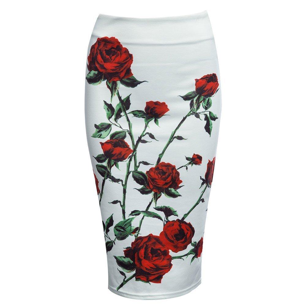 Women OL Style High Waist Floral Geometric Retro Sheathy Midi Pencil Skirt (L, 2)
