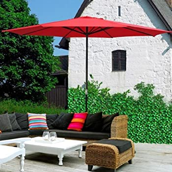 Deluxe All Weather 13ft Outdoor Patio Table Umbrella Sun Shade   Red