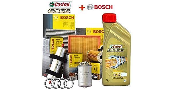 Kit de revisión para el coche: Aceite Castrol Edge 5W30 (5 litros) + Filtros Bosch (4 unidades): Amazon.es: Coche y moto