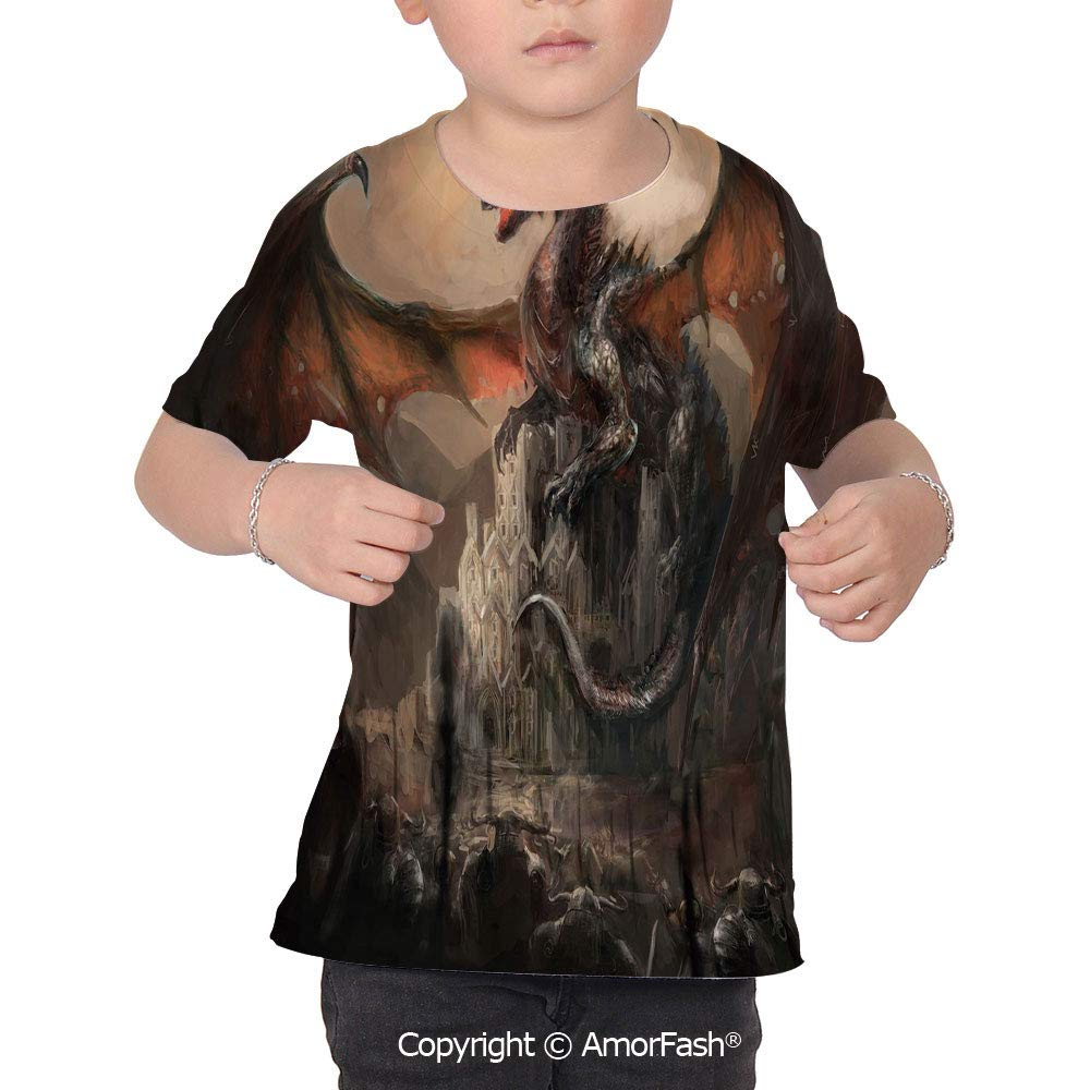 Dragon Girl Regular-Fit Short-Sleeve Shirt,Personality Pattern,Medieval Fight wi